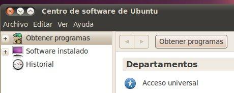 Historial Centro de Software Ubuntu