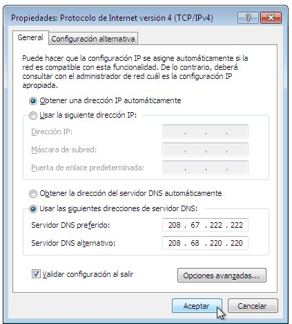 Configuracion DNS Windows7
