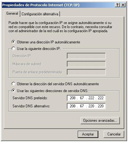 Propiedades Protocolo Internet