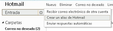 crear un alias de hotmail