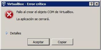 Fallo al crear el objeto COM de virtualbox