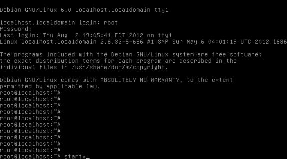 startx root Debian Live VTWM